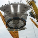Boring Machine Cutterhead being loaded onto the ship in Rotterdam Germany