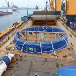 Cutterhead still wrapped in Ship's Hold before unloading starts