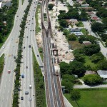 Aerial view of new guideway connection to existing system