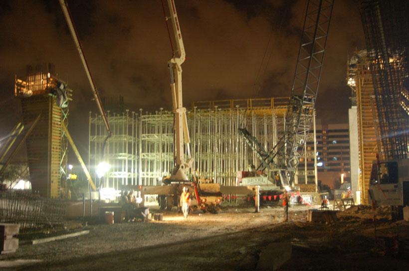 Roush prepared mass concrete plan; oversaw its execution; attended 1st concrete placement of a straddle bent column at Miami Intramodal Center at the Miami International Airport as pictured.
