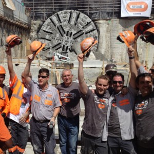 "TBM crews celebrate their ""breakout"" moment. (Photo Courtesy of Bouygues Civil Works Florida)"